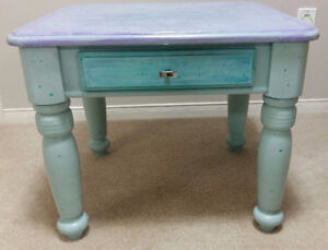 HAND PAINTED SOLID OAK END TABLE
