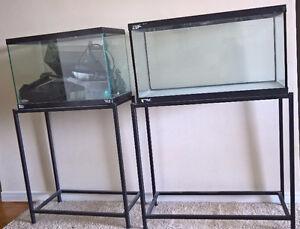 20 & 25 Gallon Aquariums with metal stands and accessories