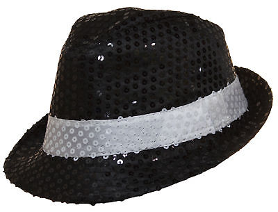 Costume Accessory - Black Sequin Fedora Hat With White Band - Sequin Fedora