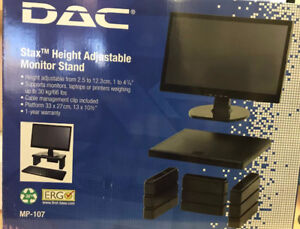 DAC Height Adjustable LCD/TFT Monitor Riser -Up to 66lb LCD Moni