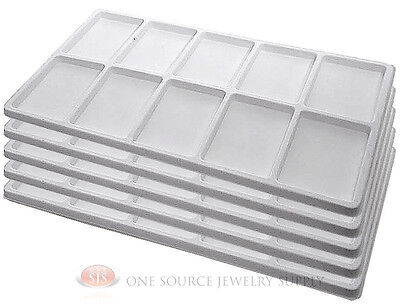 5 White Insert Tray Liners W 10 Compartments Drawer Organizer Jewelry Displays