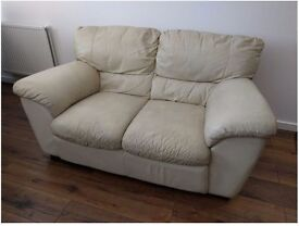 2 seater Italian Leather Sofa, Beige, Great Condition. Collection only, London