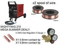 Sealey MIGHTYMIG210 Gas / no-gas Mig Welder 210amp w/ Euro Torch + Mig/7777 Mig Steel Wire