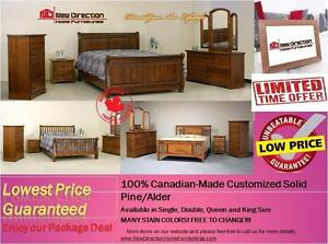 Inventory Blow Out Sale-Brand New Canadian-Made Solid Wood Customized Bedroom Set@New Direction Home Furnishings