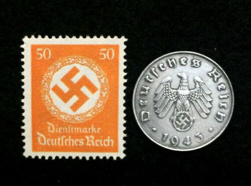 Old WWII German War Ten Rp Coin & RAREST 50pf Stamp World War 2 Artifacts