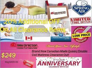 Additional 20% OFF On all Canadain MadeMattress for Clearance Items@New Direction Home Furnishings