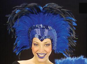 Blue Moulin Rouge Cabaret Mardi Gras Showgirl Burlesque Headdress Fancy Dress