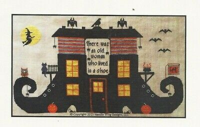 Bat Poems Halloween (OLD WOMAN IN A SHOE--Witch--Halloween--Poem--Bats--Counted Cross Stitch)