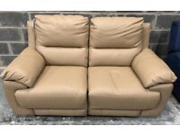 DFS leather 2 seater manual recliner sofa