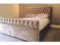 Crushed Velvet Chesterfield Sleigh Bed Frame With Free Delivery