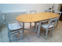 Gamleby Kitchen table with 4 chairs – gateleg table, light antique stain/grey, 67x78 cm