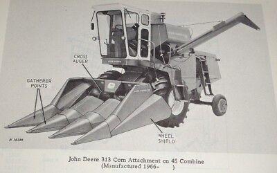 John Deere 313 Corn Head Attachment Parts Catalog Manual Fits 45 55 Combines