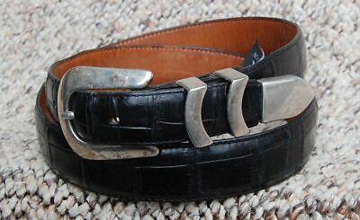 Brighton Onyx BLACK Catera Croco Embossed Taper Leather Belt ~ sz 36 ~ -