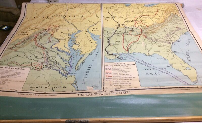 Vintage NYSTROM War Between The States Pull Down Wall Map 01161A