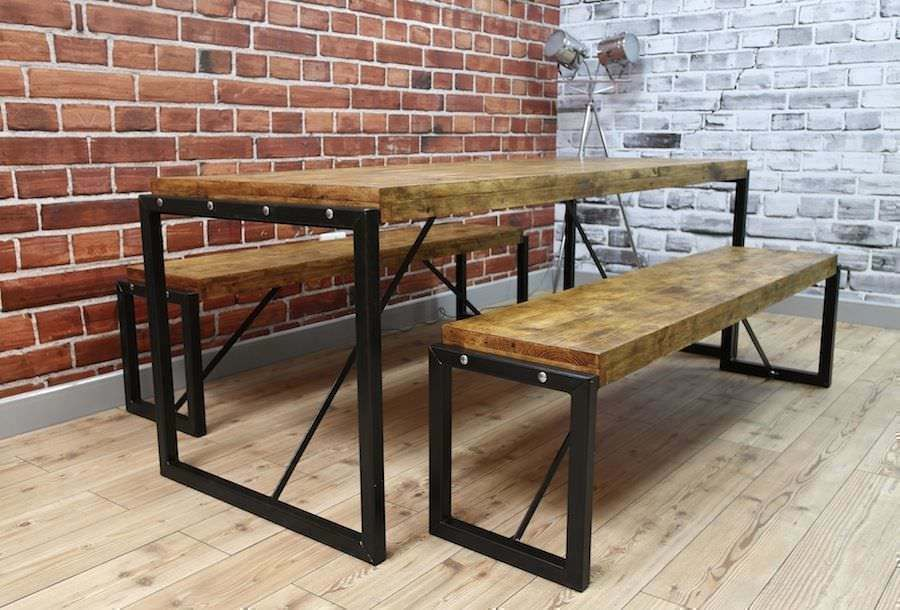 Rustic Industrial Steel Reclaimed Wood Dining Tables Benches Sets