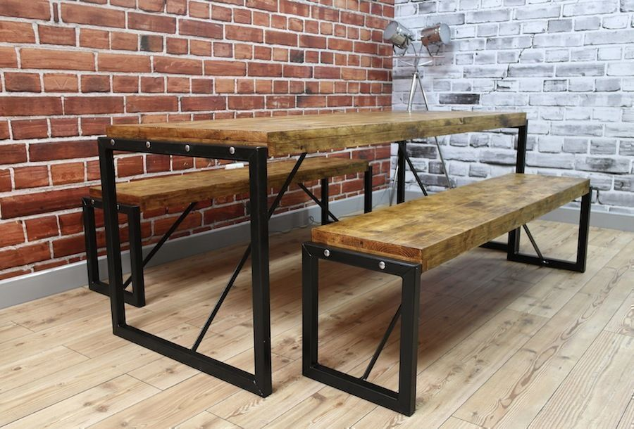 Industrial Steel Reclaimed Wood Dining Table Benches Set