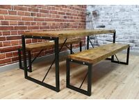 Industrial Steel Reclaimed Wood Dining Table & Benches / Set