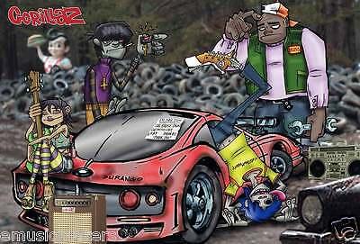 "GORILLAZ ""GROUP AROUND SPORTS CAR"" POSTER FROM ASIA - Damon Albarn"