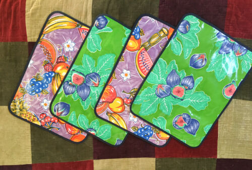 Set of 4 Colorful Tropical Fruit Themed Reversible Mexican OILCLOTH Placemats