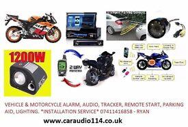 Vehicle & Motorcyle alarm, audio, tracker, parking aid