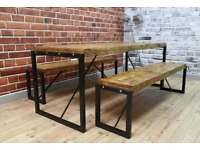 Rustic Industrial Steel Reclaimed Wood Dining Table & Benches / Dining Sets