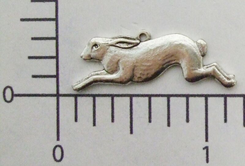 42104        2 Pc  Matte Silver Oxidized Running Rabbit Jewelry Finding Charm