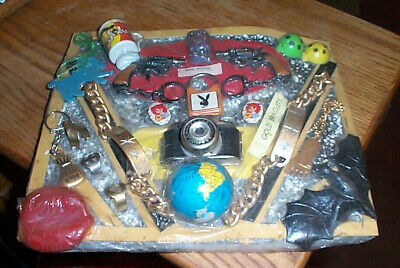 Vintage gumball machine display card toys mini pistol camera rings etc. dc4