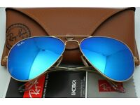 NEW Ray Ban Aviator RB 3025 112/17 Gold + Blue Mirror Lens - Made in Italy - 58 mm