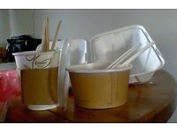 Disposable soup cups and lids, food trays and serviettes