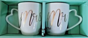 Mr and Mrs Boxed Set of 2 Gift Mugs , Wedding,Love, Couple ,Brand new