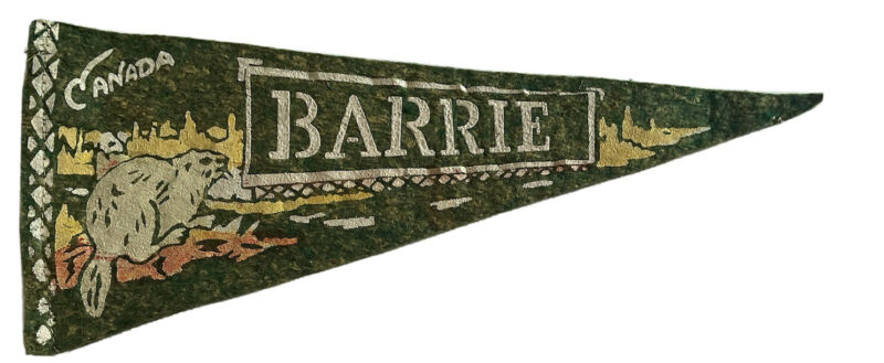 "Vintage 1950's Barrie Ontario 10.5"" Felt Mini Pennant w Beaver"