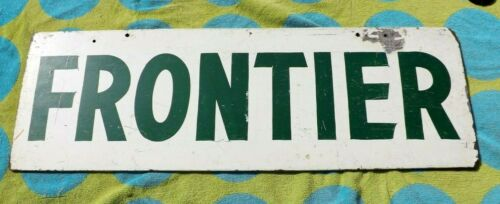 VINTAGE FRONTIER AIRLINES SIGN WOODEN AIRPORT DOUBLE SIDED aviation