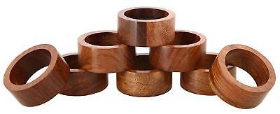 1.5 Inch Handmade Wood Napkin Ring Holders Set of 8 Dinning Tableware Home - Napkin Ring Holders