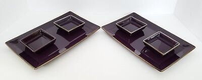 (POTTERY BARN (2) Asian Square Purple Sushi Sets ~ 2 Plates w/ 4 Dipping Dishes)