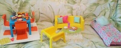 1973 Barbie Townhouse Furniture Living Dining Table Chair Couch Bed Accessories