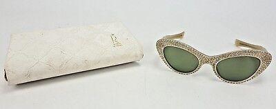 Vintage Rare Renauld of France Rhinestone Cat Eye Sunglasses 1950s Case