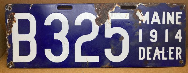 RARE 1914 MAINE DEALER LICENSE PLATE (B-325) ORIGINAL PORCELAIN