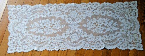 "Old Vtg French Alencon lace table dresser runner rectangular 36""x13.5"" Europe"