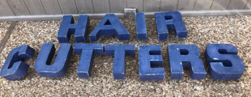 """Large Metal Letters 8"""" High HAIRCUTTERS Painted Blue 1970""""s"""