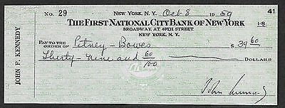 John F Kennedy Autograph & Check Reprint On Fine Linen Paper.