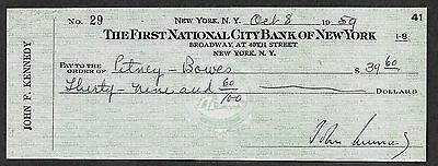 John F Kennedy Autograph & Check Reprint On Fine Linen Paper.