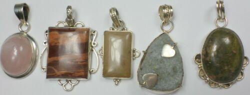 5 Vintage 925 Sterling Silver Quartz Unakite Agate Chalcedony Pendants 74 Grams