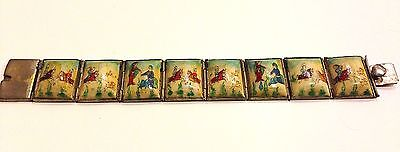 Vintage Antique Persian Hand Painted Silver Storybook Bracelet