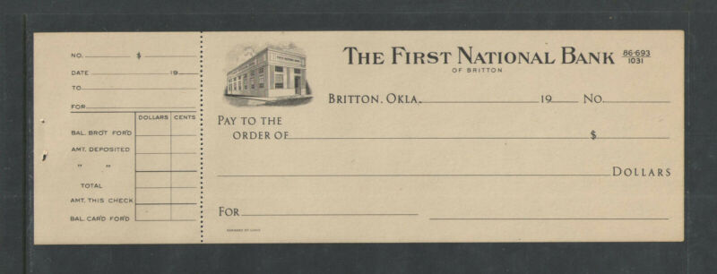 1920s THE FIRST NATIONAL BANK BRITTON OKLA UNUSED ANTIQUE CHECK w/ STUB