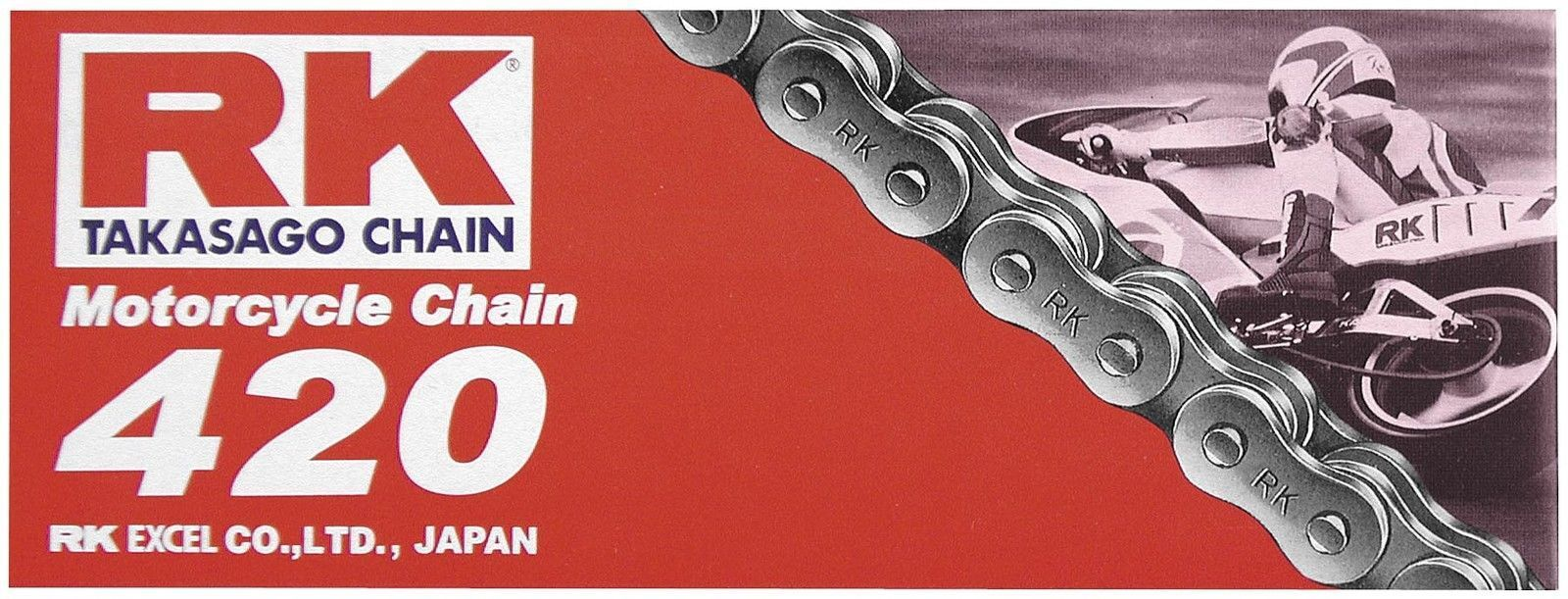 420 Series RK Racing Chain M420-110 110-Links Standard Non O-Ring Chain with Connecting Link
