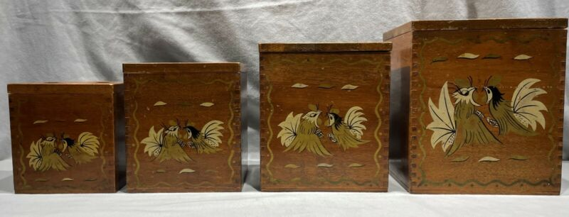 VINTAGE WOODEN CANISTER SET OF 4 WALNUT PAINTED FIGHTING ROOSTERS