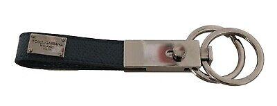 DOLCE & GABBANA Keychain Blue Leather Metal Ring Logo Keyring RRP $250