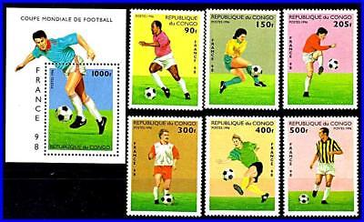 CONGO P.R 1998 FRANCE WORLD FOOTBALL CUP + S/S MNH SPORTS SOCCER