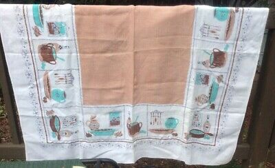 Vintage Brown and Aqua  Kitchen Print Tablecloth