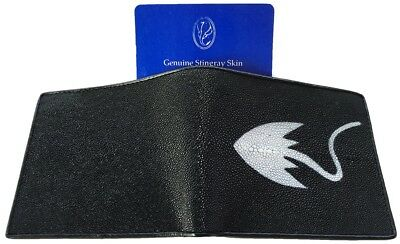 Genuine Real Stingray Skin Leather Man Bifold Shiny Black Stingray Wallet New